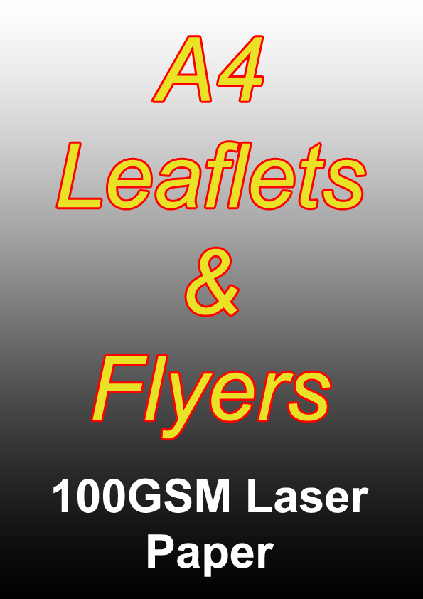 Leaflet Printing - 2500 A4 Black And White Single Sided Flyers on 100gsm Laser Paper