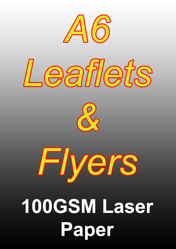 Leaflet Printing - 250 A6 Black And White Flyers on 100gsm Laser Paper