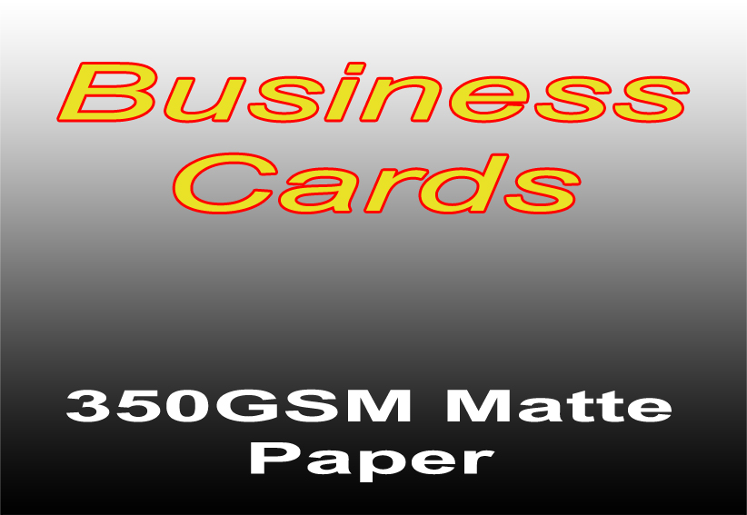 Business Card Printing - 250 Black and White Single Sided on 350gsm Matte Paper