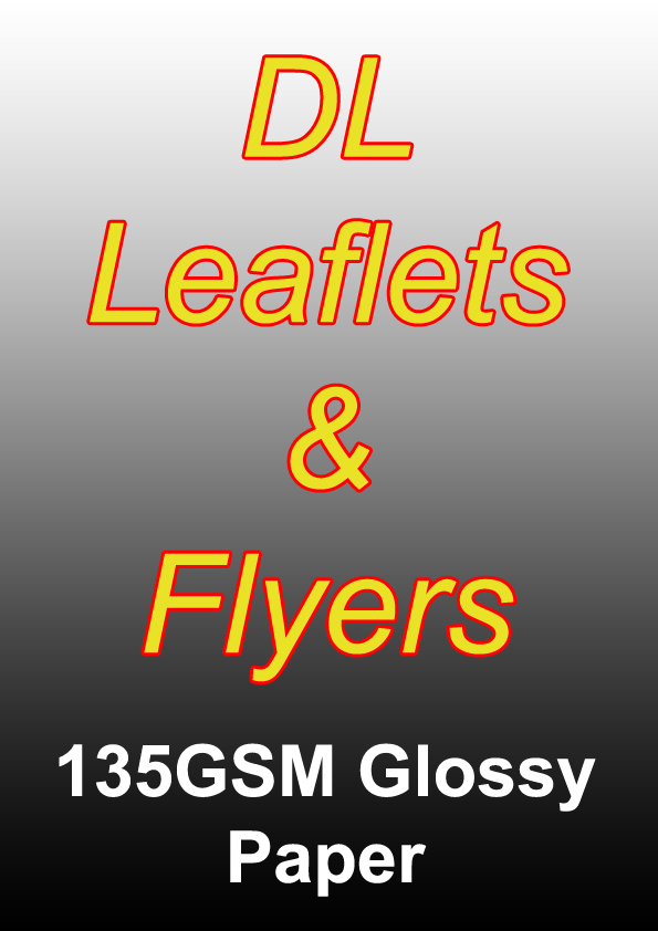 Leaflet Printing - 1000 DL Black And White Flyers on 135gsm Glossy Paper